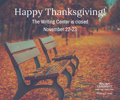Happy Thanksgiving! The Writing Center is closed November 22-23