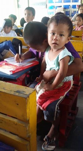 Determined Filipino Kid Brings His Baby Brother To His Classes Because He Does Not Want To Skip School!