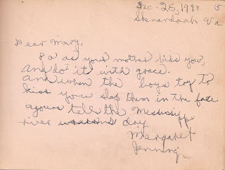 Margaret Jennings in autograph book belonging to Mary Davis Slade 1940-41
