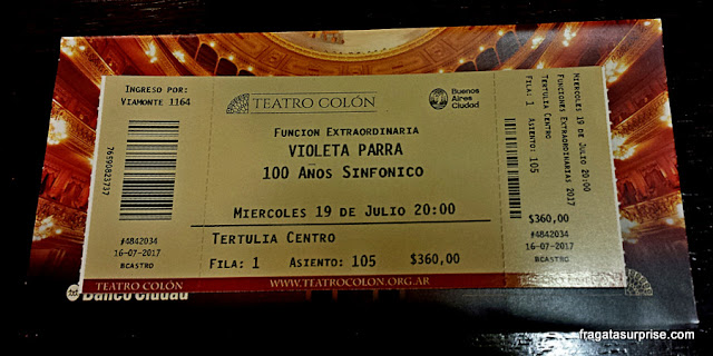 Ingresso para espetáculo no Teatro Colón de Buenos Aires