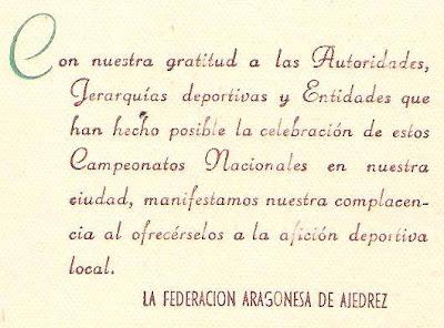Agradecimiento de la Federación Aragonesa de Ajedrez por el XVIII Campeonato de España de Ajedrez 1957
