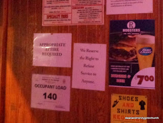 entrance notices at Roosters