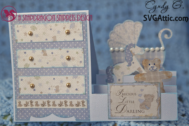 3d card with teddybear, rocking horse and carriage