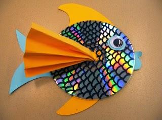 Kreasi Membuat Bentuk Ikan Dari CD Bekas