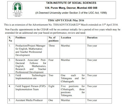 TATA INSTITUTE OF SOCIAL SCIENCES, www.tiss.edu, TISS Recruitment 2016, TISS Mumbai, Advertisement, Notification