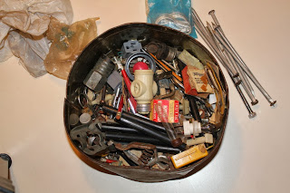 Tin of Junk, found, hardware