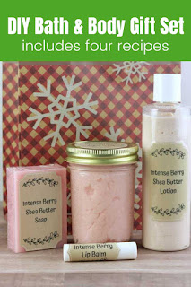 Looking for diy beauty products recipes?  These four beauty diy recipes are perfect for yourself or for gift giving.  These diy beauty recipes easy are perfect for beginners.  Even if you've never made any homemade beauty products before, you can make these.  Learn how to make soap, diy sugar scrub recipe, lip balm recipe, and lotion recipe.  diy natural beauty recipes like these are natural and made with a natural fragrance.  diy homemade beauty products make great gifts!  #diybeautyrecipes #diygifts #diybeauty #diy #soap #lotion #lipbalm #essentialoils #sugarscrub