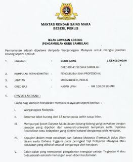 Guru Sambilan MRSM Kerja Kosong