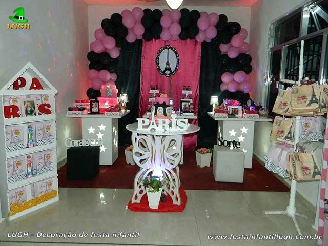 Festa teen e adulta - Decoração de mesa tema Paris para aniversário feminino