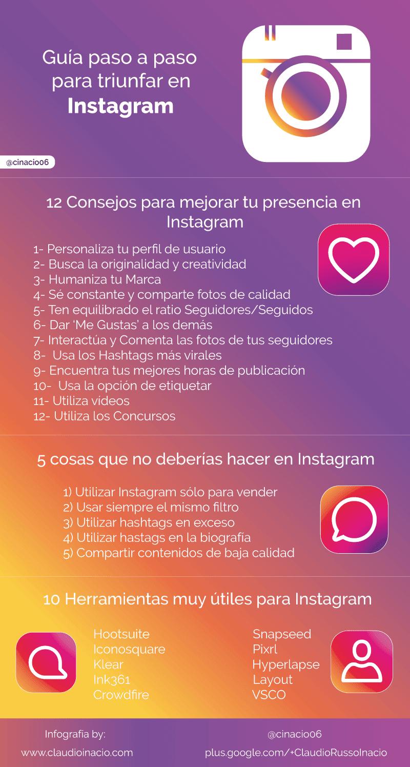 Guía paso a paso para triunfar en Instagram  [Infografía]