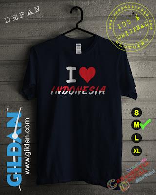 Baju Kaos Cinta Indonesia Warna Biru Dongker