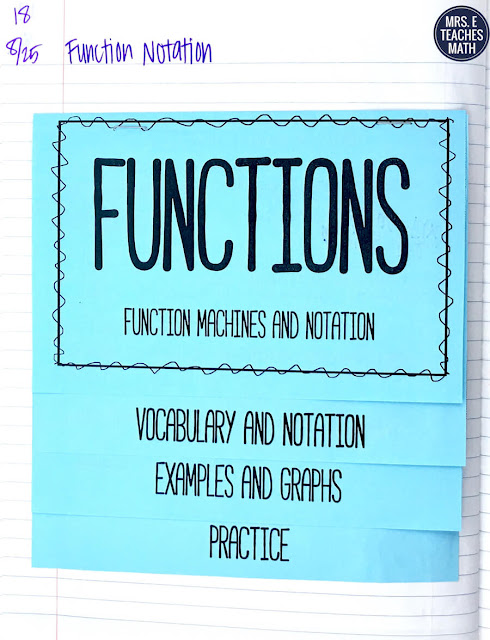 These interactive notebook pages for functions notation were great for my algebra 2 students.  There were foldable (flipbook) notes and activities to keep them engaged and learning the whole time!