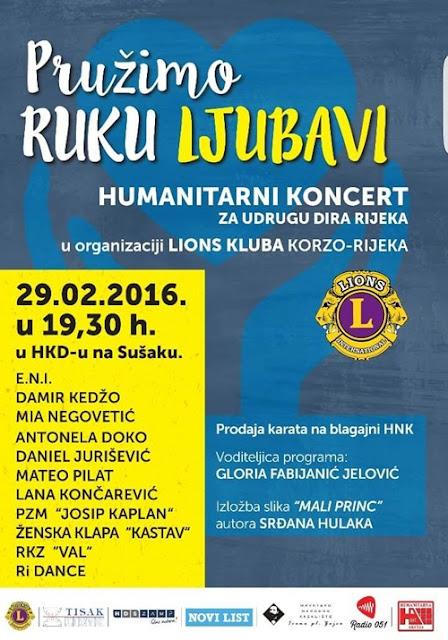 Pružimo ruku ljubavi @ humanitarni koncert HKD Rijeka, 29.02.2016