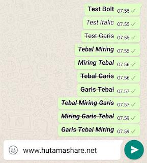 Membuat Tulisan Whatsapp Tebal Miring Coret Garis Tengah Kombinasi