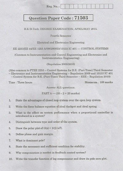 EE2253 Control Systems April May 2015 Question Paper