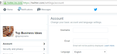 Change Twitter Username and E-mail