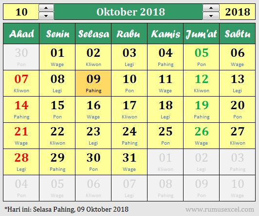 Kalender Excel Abadi + Pasaran Jawa