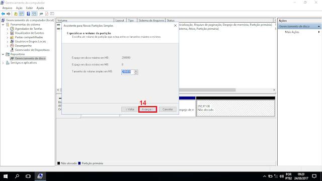 """Na caixa do """"Tamanho do volume simples em MB"""" deixe como ele está para usar todo o espaço da nova alocação, ou digite o valor que queira para o novo disco. 14 - Clique em avançar."""