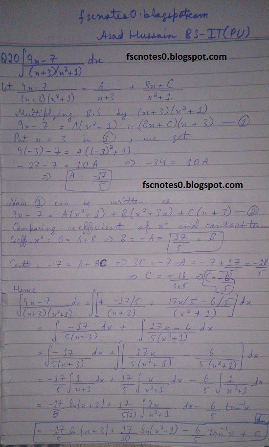 FSc ICS Notes Math Part 2 Chapter 3 Integration Exercise 3.5 question 12 - 22 by Asad Hussain 8