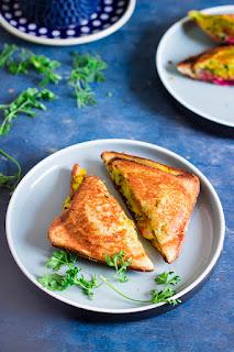 Bombay sandwich, Bombay masala toast, Mumbai sandwich, Spiced potato sandwich