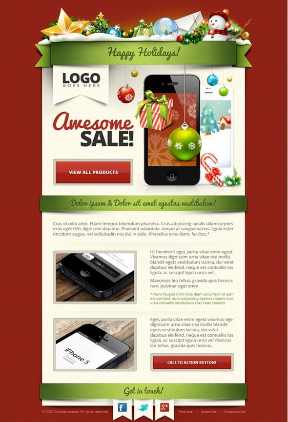 Free Christmas Email Template – HTML version