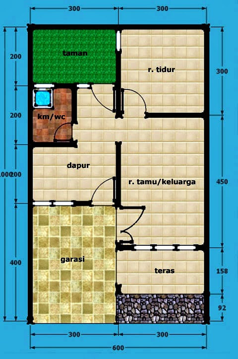 Denah Rumah Type 21 1 Lantai : denah, rumah, lantai, Desain, Rumah, Lantai, Untuk, Renovasi, 21/60