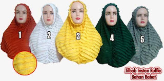 jilbab instan modis ruffle bahan babat murah