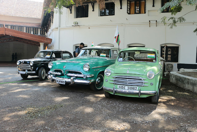 Vintage cars exhibited at Aspinwall House, main venue of Biennale, organised as part of Republic Day celebrations by Cochin Vintage Club in association Kochi Muziris Biennale