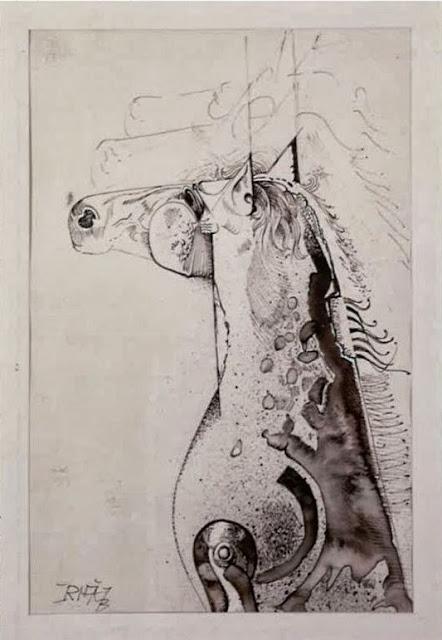 Dibujo caballo pintor catalán modernista Joan Rifà