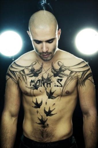 O clássico e o estilo Americano tatuagem no peito para homens