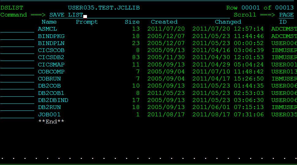 TSO SAVE Command   Mainframes Simplified