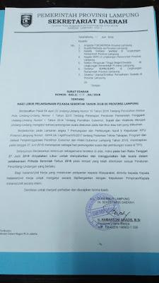 Pemprov Lampung Tetapkan 27 Juni 2018 Sebagai Hari Libur