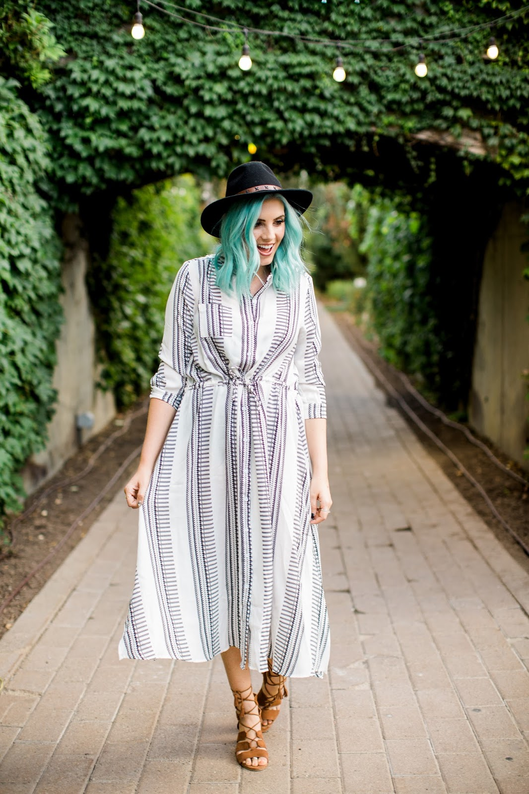 Striped Dress, Boho, Autumn Outfit