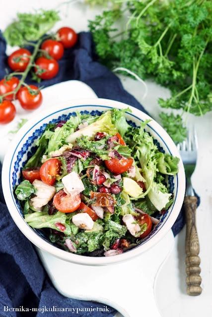 salatka, granat, piknik, grill, pomidory, bernika, kulinarny pamietnik