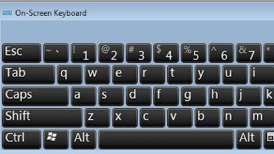 perintah menampilkan On Screen Keyboard