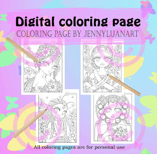 anime doodle girls PDF coloring page bundle part 4