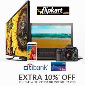 10% Extra Off for CITI Bank Credit Cards on EMI on Min Transaction of Rs.7500 (Valid till 27th Feb'15)