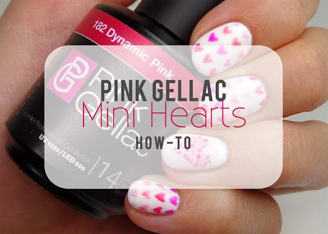 Pink Gellac Hearts nail art