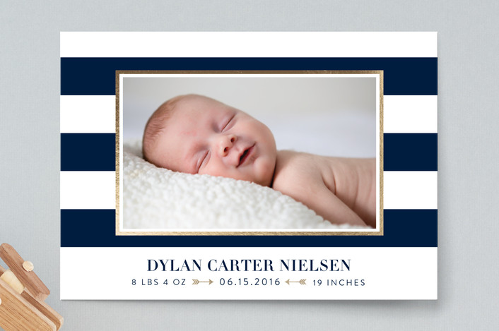 Preppy stripes birth announcements