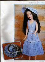 Roupinha de Crochê Para Barbie Com Gráfico Vestido e Chapéu para Barbie
