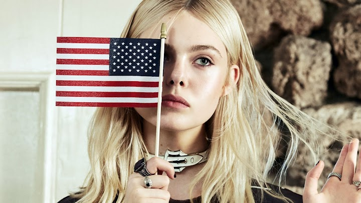 Elle Fanning American Flag Wallpaper