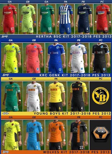 Hertha BSC, KRC Genk, Young Boys & Wolverhampton Kits 2017-18 PES 2013