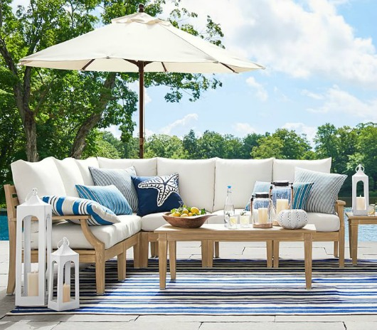 Navy blue and white striped outdoor pillows
