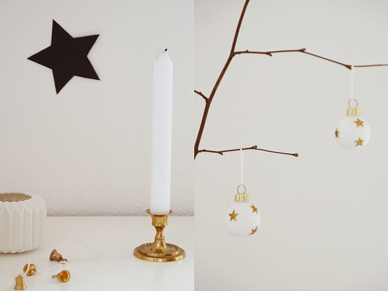 gold, black and white simple christmas decoration