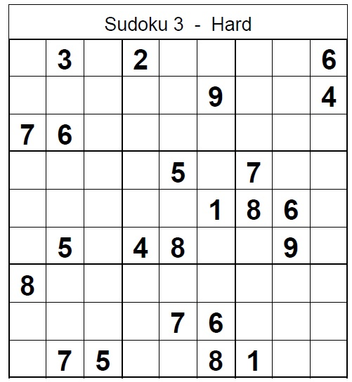 graphic about Sudoku Printable Hard known as Sudoku Difficult Printable Puzzle No 3 with Merchandise - Sudoku