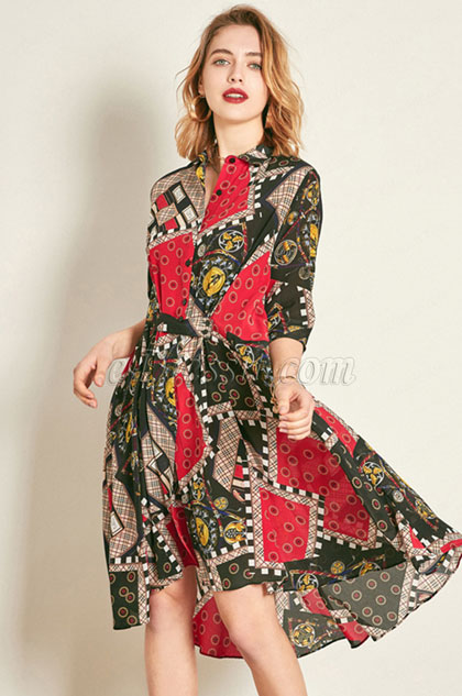 Classic Silk 1/2 Sleeves Printed Tunic Dress