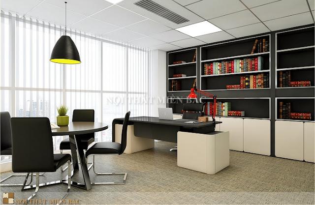 Thiết kế nội thất phòng giám đốc với gam màu đen trắng có sự hòa hợp vô cùng ăn ý để tạo nên một căn phòng hoàn hảo