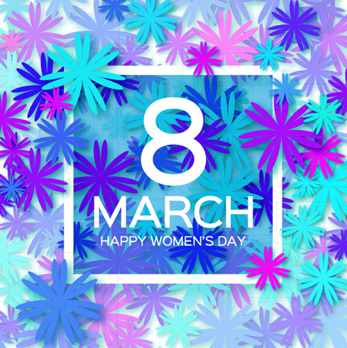 Women's Day 8 March woman day holiday background with paper flower free vector