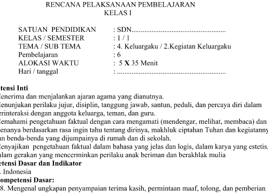 RPP Kurikulum 2013 SD kelas 1 Revisi Tema 4 Subtema 2 Pembelajaran 6 Terbaru Tahun Pelajaran 2016 2017