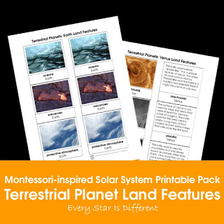 Montessori-inspired Solar System Printable Pack: Terrestrial Planet Land Features